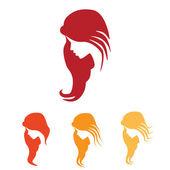 Young Woman, Hair icon — Stock Vector