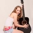 Hippy Girl with the Acoustic Guitar — Stock Photo