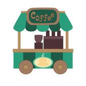 Green coffee wagon — Stock Vector