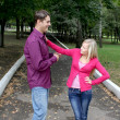 Seeming young couple conflict — Stock Photo