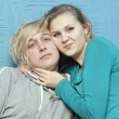 Close-up of a woman embracing her boyfriend — Stock Photo