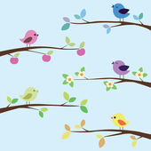 Many bright birds on different branches — Stock Vector
