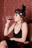 Retro Girl drinking Wine — Stock Photo