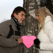 Loving young couple with pink paper heart — Stock Photo