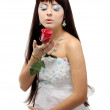 Woman in snow queen blowing in the icy breath of the rose — Stock Photo