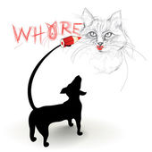 Funny picture of cat — Stock Vector