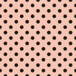 Black polka dots on baby pink background retro seamless vector pattern — Imagen vectorial