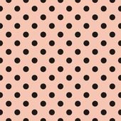 Black polka dots on baby pink background retro seamless vector pattern — Stock Vector