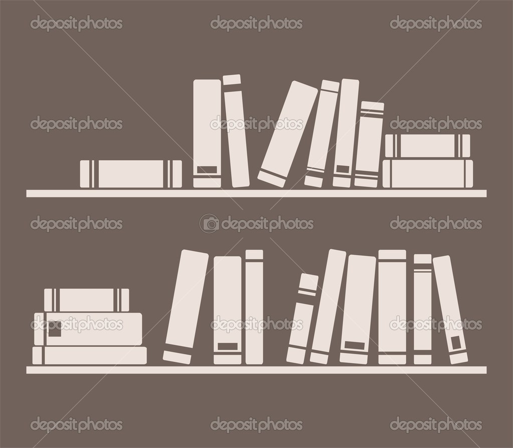 Books on the shelf interior design vintage vector for Books about interior design
