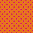 图库矢量图片: Retro seamless vector pattern with pink polkdots on orange background
