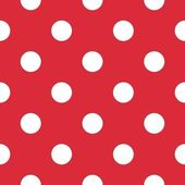 Big polka dots on red background retro seamless vector pattern — Stock Vector