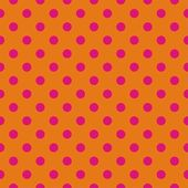 Retro seamless vector pattern with pink polka dots on orange background — Stock Vector