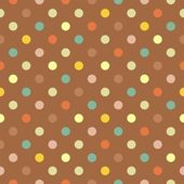 Retro seamless vector pattern with colorful polka dots on brown background — Stock Vector