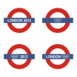 Underground sign with London 2012 for the olympics games in summer 2012 — Stock Vector