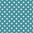 Vector seamless pattern with white polka dots on ocean blue background — Stok Vektör