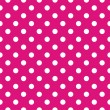 Seamless vector pattern with polka dots on neon pink background — Stock Vector