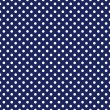 Vector seamless pattern with white polka dots on sailor navy blue background — Imagen vectorial