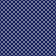 Vector seamless pattern with white polka dots on sailor navy blue background — Stock vektor