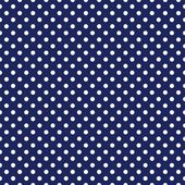 Vector seamless pattern with white polka dots on sailor navy blue background — Stock Vector