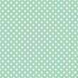 Polka dots on fresh mint green background retro seamless vector pattern — Stock Vector