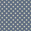 Vector seamless pattern with beige polka dots on sailor navy blue background — Stock vektor