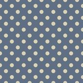 Vector seamless pattern with beige polka dots on sailor navy blue background — Stock Vector