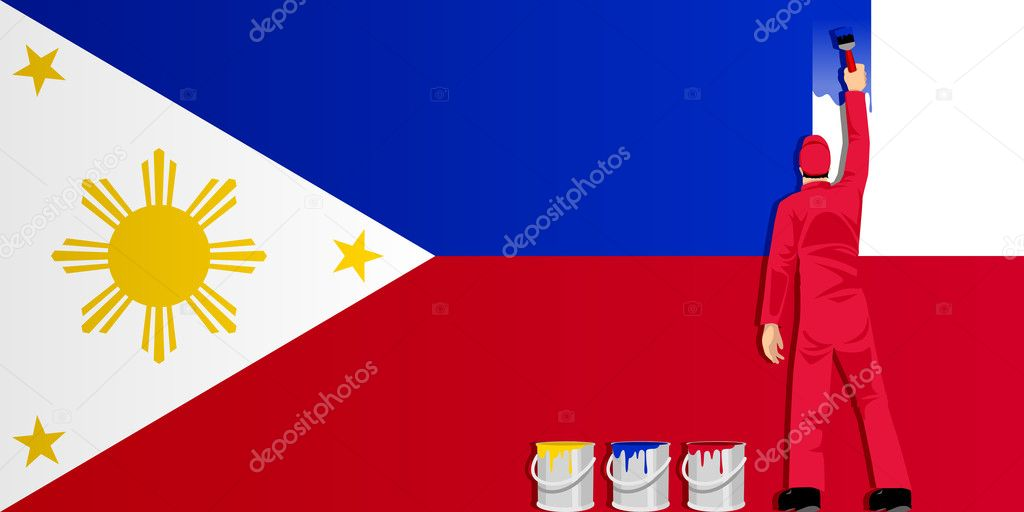 Illustration of a man figure painting the flag of Philippines  Stock Vector #10794964