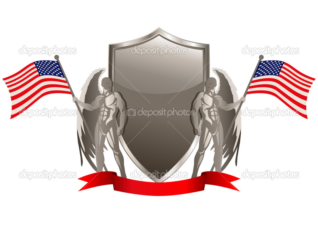 Vector illustration of an emblem with American flag — Stock Vector #10795000