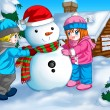 Children and Snowman — Stock Photo #10955175