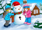 Children and Snowman — Foto Stock