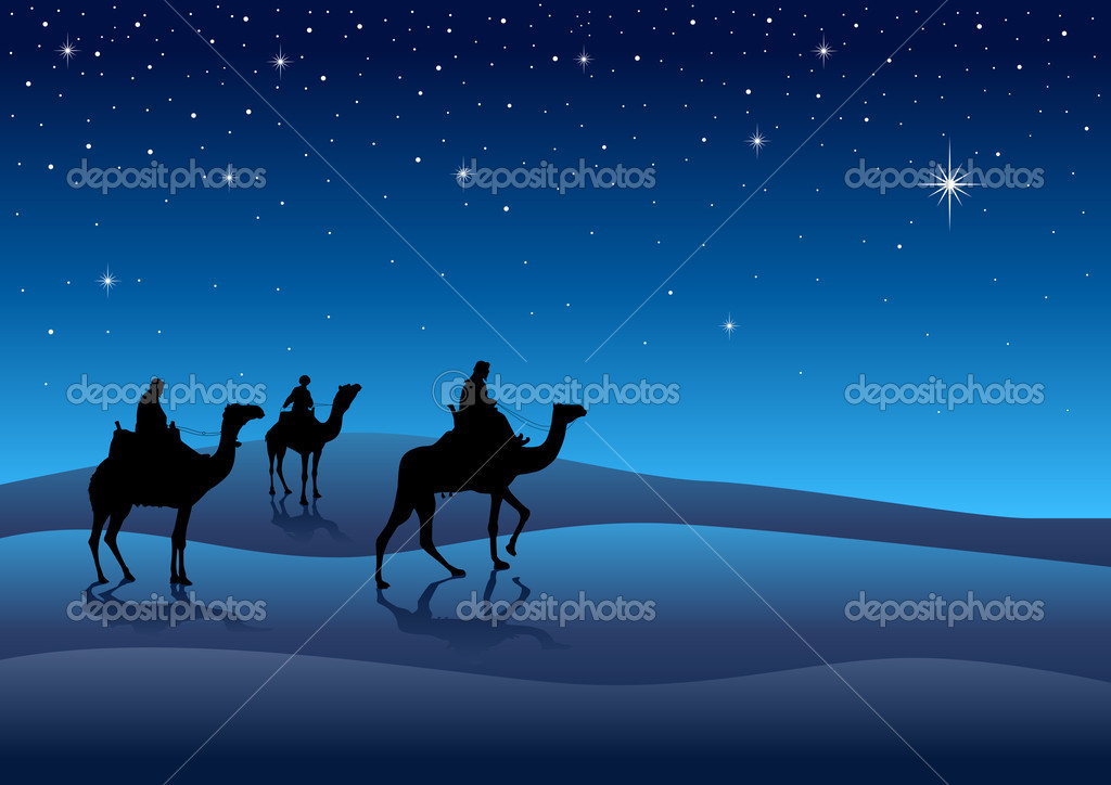 Silhouette illustration of Three Kings from the East following the ...
