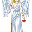 Angel With Heart Symbol - Stock Photo