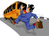 Chasing The Bus — Stock Photo