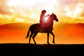 Cowboy During Sunrise — Stock Photo