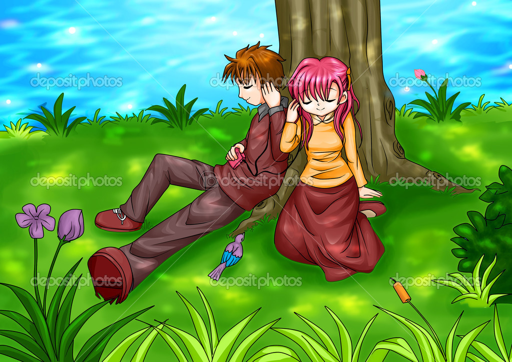 Cartoon illustration of a couple sitting under the tree  Stock Photo #11885089