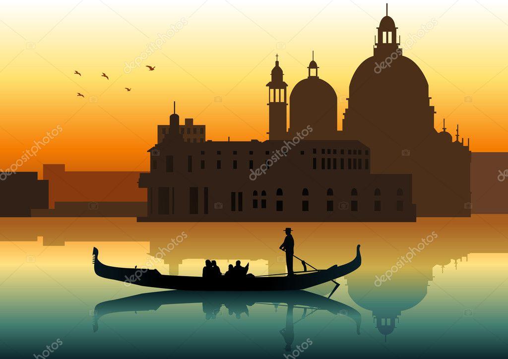 как нарисовать лодку в венеции