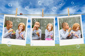 Brother and sister blowing soap bubbles — Stock Photo