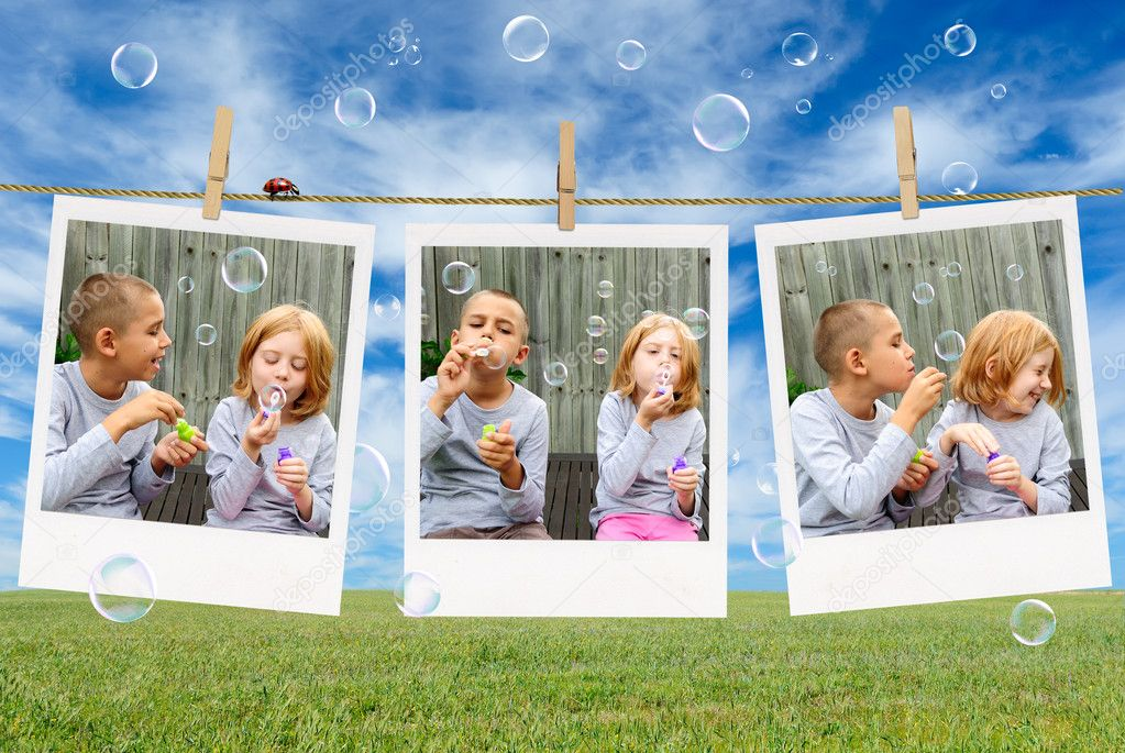 Pictures of cute kids blowing soap bubbles outdoor  Stock Photo #11278587
