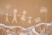 Summer family vacations, on wet sand texture — Stock Photo
