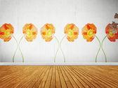 Chambre vintage avec papier peint floral — Photo