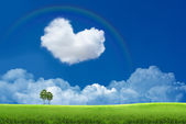 Blue sky with clouds and a rainbow — Foto Stock