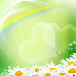 Stock Photo: Hearts and daisies on green background