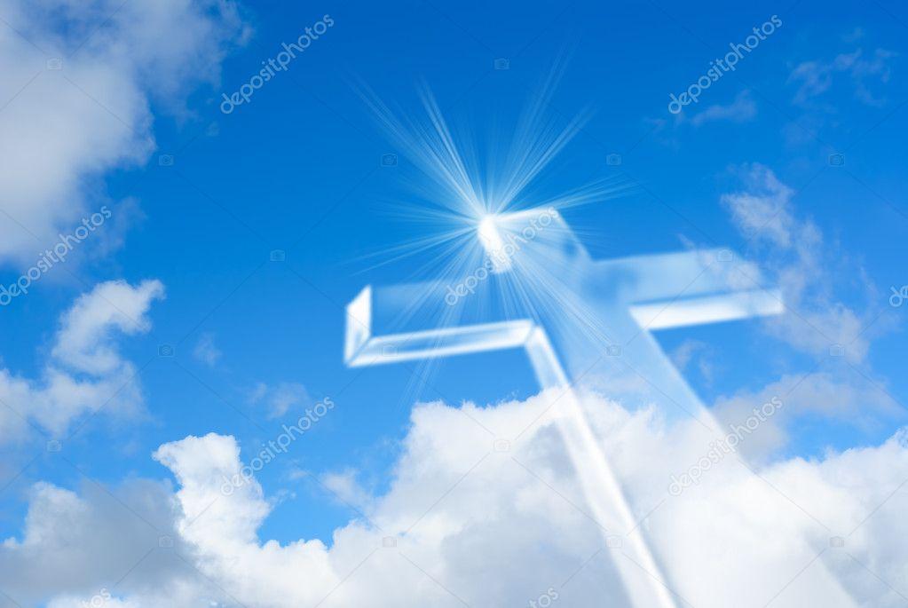 Beaming Bright White Cross In Heaven Stock Photo
