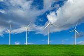 Rüzgar türbinleri, çevre kavramı — Stok fotoğraf