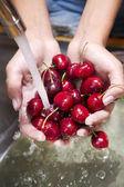 Washing of fruits, cherries — Stock Photo
