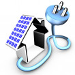 Solar panel delivering energy to an electrical plug - Stock Photo