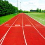 A part of an outdoor stadium - running tracks — Stock Photo