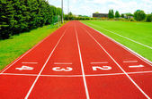A part of an outdoor stadium - running tracks — Stockfoto