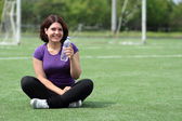 Beautiful Fitness Woman with Bottle of Water — Stok fotoğraf