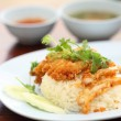 Thai food gourmet fried chicken with rice , khao mun kai tod in - Stock Photo